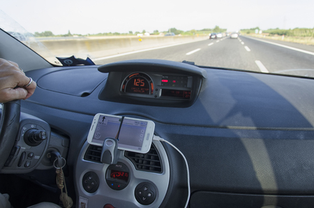View of mobile phone udes as a sat nav Stock Photo