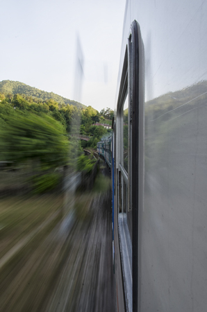 View of a train through the italian landscape
