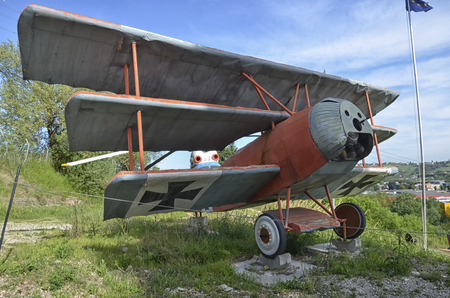 View of a replica of the Fokker Dr.I triplane