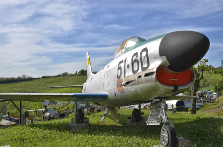 View of a retired F-86D Sabre dog aircraft