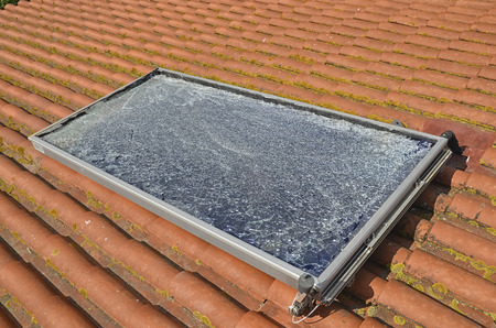View of a shattered photovoltaic panel after hail