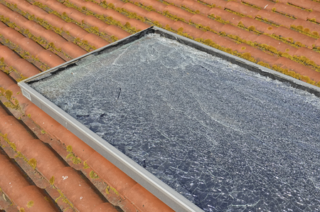 View of a damaged photovoltaic panel after hail