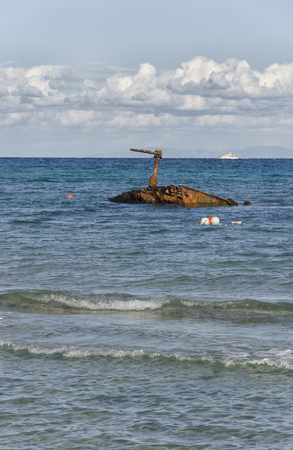 View of an old sunken rusty ship