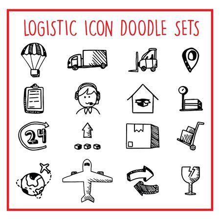 Logistic Line Icon Doodle Sets