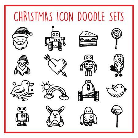 Christmas Line Icon Doodle Sets Иллюстрация