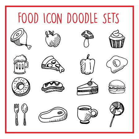 Food Line Icon Doodle Sets