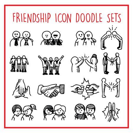 friendship Line Icon Doodle Sets Illustration