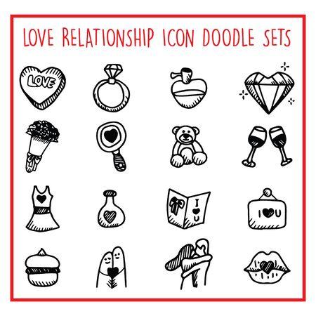 Love Relationship Line Icon Doodle Sets Ilustração