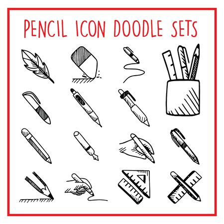 Pencil Line Icon Doodle Sets