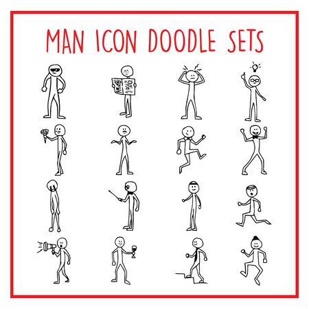 People Man Line Icon Doodle Sets Standard-Bild - 130726162