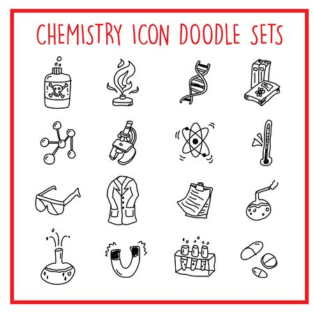 Vector icons set of many Chemistry Objects