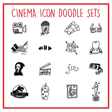 Vector icons set of many Cinema characters expresion Çizim