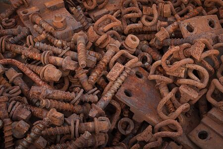 metal scrap: rusty screws, metal scrap