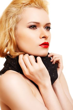 Blonde with sexy make-up and fashion black scarf photo