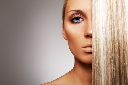 Beautiful woman with blond hair photo