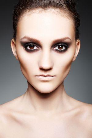 Luxury woman with dark fashion evening smoky make-up Stock Photo - 7754706