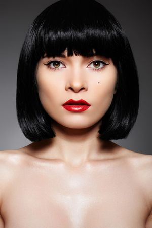 Luxury woman with fashion make-up & bob hairstyle photo