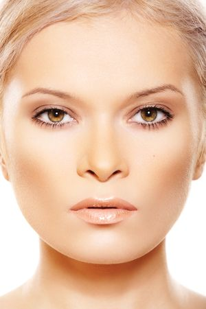 Front view close-up face of woman which wearing natural make-up Stock Photo - 8574363
