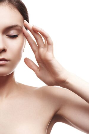 Beautiful woman model with healthy skin relaxation