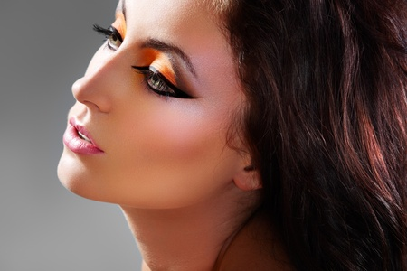black makeup: Beautiful woman model with luxury oriental make-up