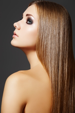Beautiful hairstyle. Model with straight long hair Stock Photo