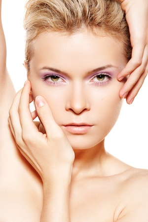 Wellness & spa. Sensual model with violet make-up on white background. Stock Photo - 11316986