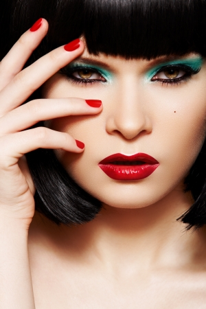 Model with bright make-up, manicure. Hairstyle, christmas makeup Stock Photo