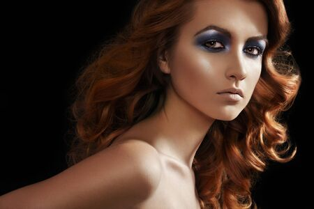Fashion woman model with glitter evening make-up, long hair Stock Photo - 9305231