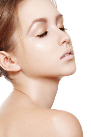 Spa beauty with natural make-up, clean skin, purity complexion