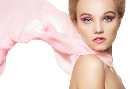 Beauty, make-up & accessories. Beautiful romantic style of pretty girl with waving silk scarf on white background  photo
