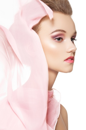silk scarf: Beauty, make-up & accessories. Beautiful romantic style of pretty girl with waving silk scarf on white background