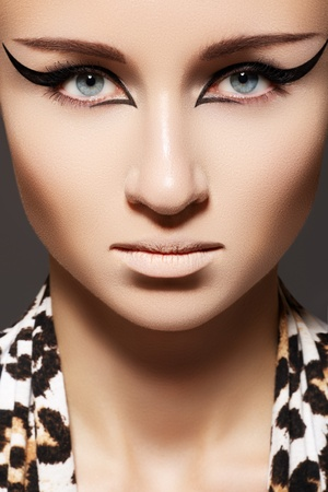 Fashion woman model with glamour make-up, cat eye liner makeup and scarf with leopard print. Vamp, wild cat style  photo