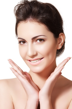 ageing: Beauty, wellness, healthcare, skincare. Soft female model face with natural make-up, shiny complexion, clean skin. Perfect healthy smile with white teeth. Daily look