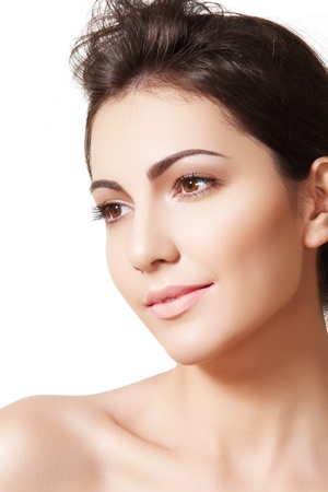 Beauty, wellness, cosmetics, spa, healthcare and skincare. Beautiful woman model face with natural make-up, shiny complexion, soft clean skin. Daily look