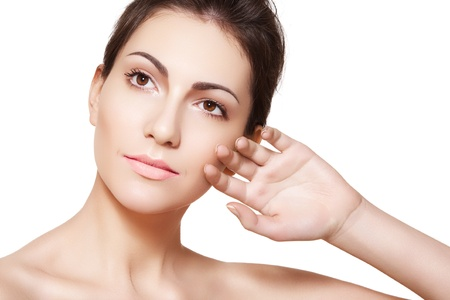 ageing: Beautiful woman model face with natural make-up, shiny complexion, clean skin. Spa beauty  Stock Photo