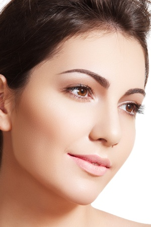 Beauty, wellness, cosmetics, spa, healthcare and skincare. Beautiful woman model face with natural make-up, shiny complexion, soft clean skin
