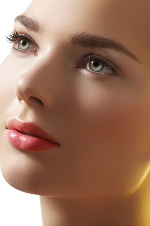 Natural beauty close-up portrait of beautiful young woman model face with clean skin
