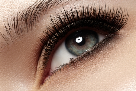 Macro shot of woman s beautiful eye with extremely long eyelashes  Sexy view, sensual look  Stock Photo