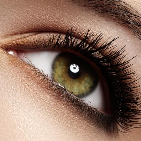 Macro shot of woman s beautiful green eye with extremely long eyelashes  Sexy view, sensual look  Foto de archivo