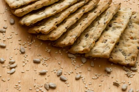 Cereal crackers with seeds and sesame seeds