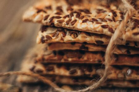 A stack of healthy and delicious cookies. Close up