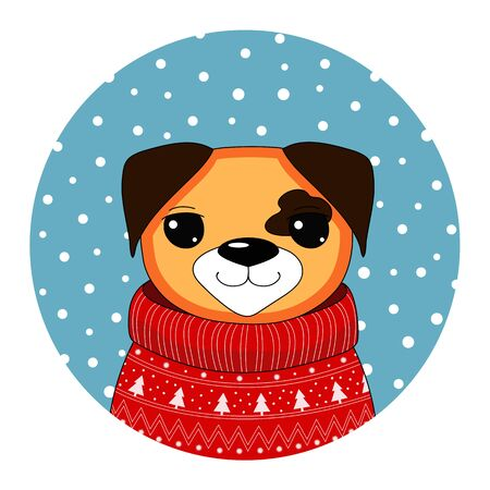 Christmas dog in a red sweater. Symbol of year 2018. Chinese New Year. New year greeting card with dog in winter warm sweater. Christmas concept