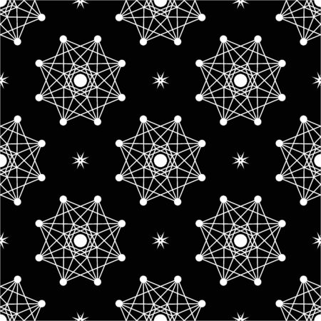 Black and white seamless vector background. Black background