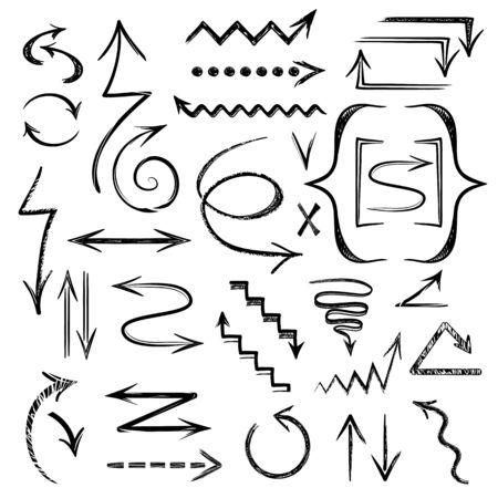 Set of black drawing arrows. Sketchy arrow hand drawn collection vector graphic design illustration. Ilustração