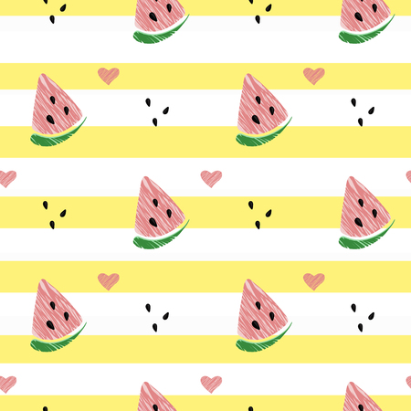 Vector illustration: seamless pattern with cone red watermelon slices on yellow striped background