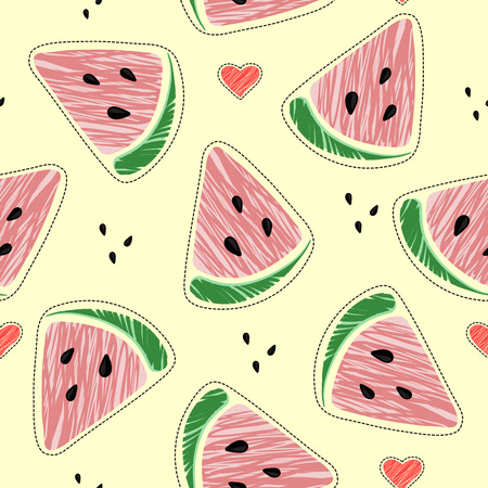 Vector illustration: seamless pattern with cone red watermelon slices and hearts on yellow background. It is surrounded by a dotted line. Ilustração