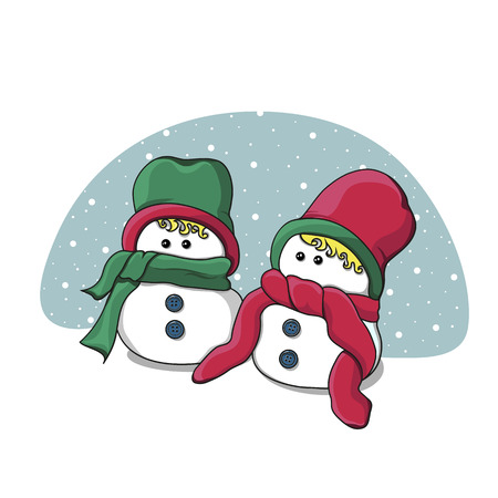 Merry Christmas and Happy New Year banner with two snowmen. Blue background with snowfall. Holiday concept. Vector illustration can be used for invitations, greeting cards, posters or leaflets. Ilustração
