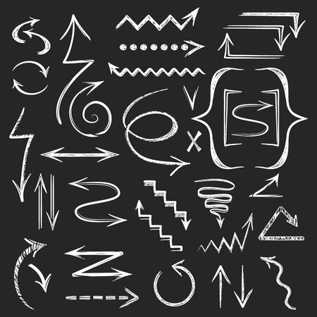 Set of white arrows drawn in chalk. Sketchy arrow. Hand drawn collection. Vector graphic design illustration