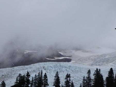 crevasse: Mist hanging over Coleman Glacier