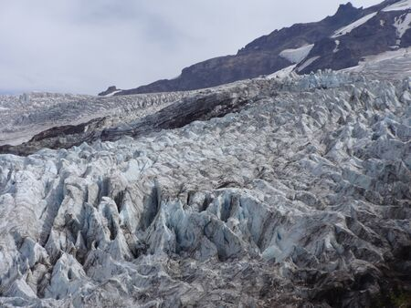 moving images: Coleman glacier and crevasses Stock Photo
